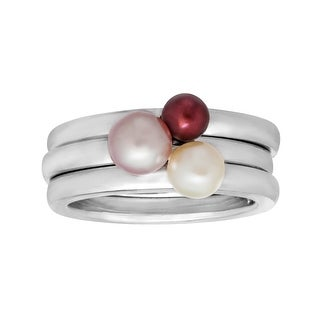 Pearl Stackable Rings in Sterling Silver - Multi-Color