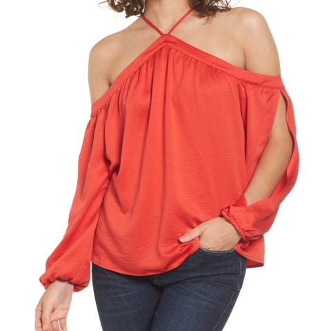Love Fire Womens Small Cold Shoulder Split-Sleeve Blouse