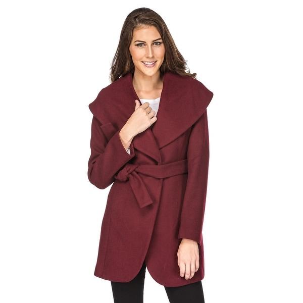 Women's Wool Blend Shawl Collar Wrap Coat. Opens flyout.