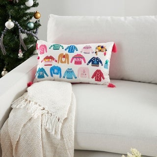 "Link to Mina Victory Holiday Sweaters Tassel Multicolor Throw Pillow  12"" x 20"" Similar Items in Decorative Accessories"