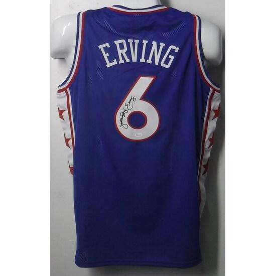 2ac6dcd95e1 Julius Erving Autographed Blue Philadelphia 76ers blue size XL jersey w/JSA