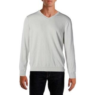 Perry Ellis Mens Ribbed Trim Knit V-Neck Sweater
