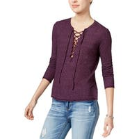 Chelsea Sky Womens Pullover Top Lace Up Casual