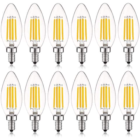 Luxrite 5W Vintage E12 LED Bulb 60W Equivalent, 550 Lumens, Dimmable Candelabra LED Bulbs, Clear Glass (12 Pack)
