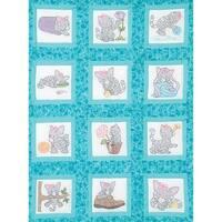 """Themed Stamped White Quilt Blocks 9""""X9"""" 12/Pkg-Kittens"""