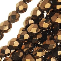 Czech Fire Polished Glass Beads 6mm Round - Metallic Bronze (25)