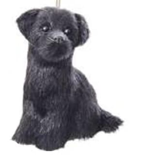 "4"" Black Labrador Puppy Dog Sitting Decorative Christmas Ornament"