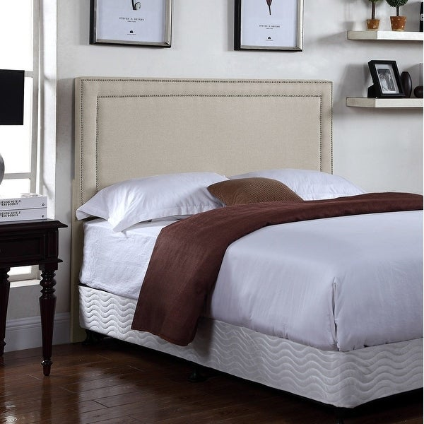 U.S. Pride Furniture Lana Fabric-upholstered Panel Headboard with Nailhead Trim. Opens flyout.