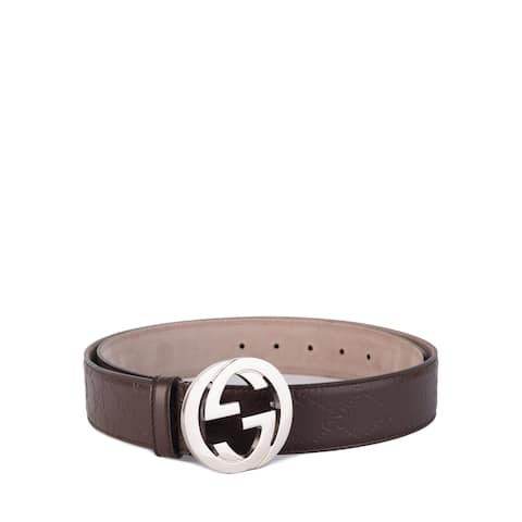 a7fa99cc4da93 Gucci Men's Brown Interlocking G-Buckle Leather Belt Size 105/42 RTL$450