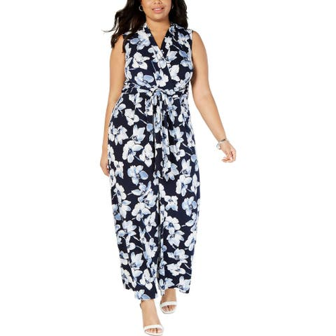 Jessica Howard Womens Plus Jumpsuit Floral Faux Wrap - Navy