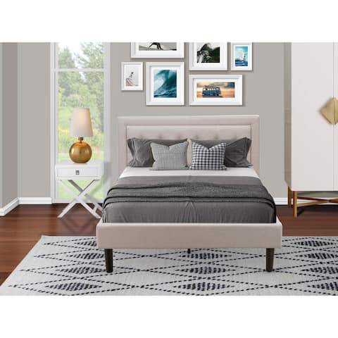 Fannin Wooden Set for Bedroom with Upholstered Bed and a Small Nightstand - Mist Beige Linen Fabric