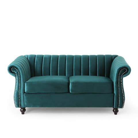 Glenmont Modern Glam Channel Stitch Velvet Loveseat with Nailhead Trim by Christopher Knight Home