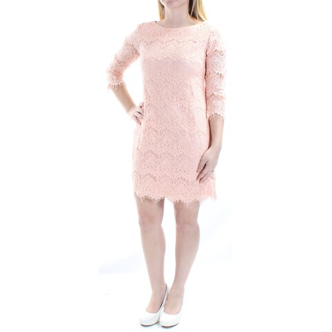 Womens Coral 3/4 Sleeve Mini Shift Casual Dress Size: 4