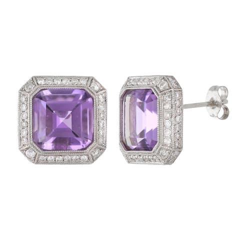 18k White Gold Amethyst & Diamond Halo Cushion Stud Earrings
