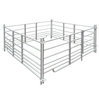 "vidaXL 4-Panel Sheep Pen Galvanized Steel 72""x72""x36.2"""