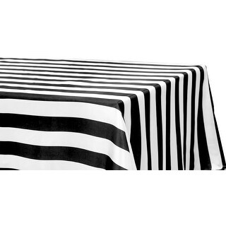 "Stripe Satin Rectangular Tablecloth 90""x132"" - Black & White, 1 Piece"
