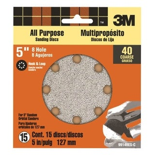 "3M 99148 Hook & Loop Sanding Disc 5"", 40 Grit, 15/Pk"