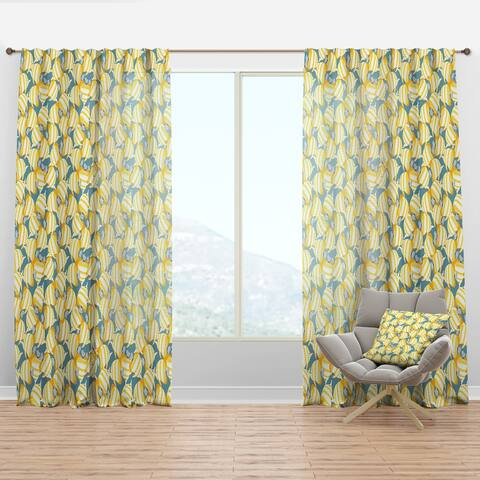 Designart 'Yellow Fishes Pattern' Nautical & Coastal Curtain Panel