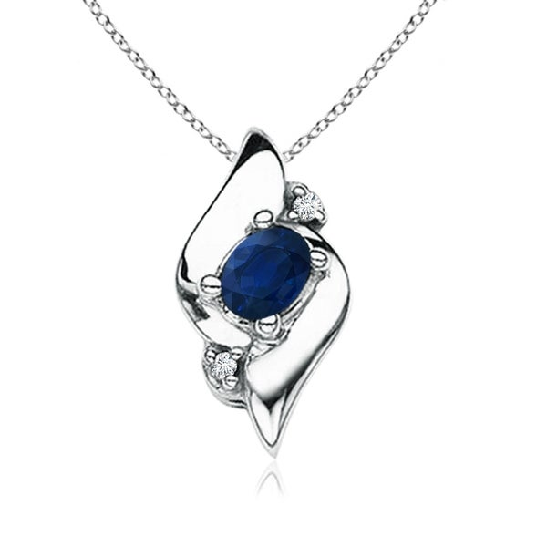 Shell Style Diamond and Oval Sapphire Pendant in Silver (4X3mm  Blue Sapphire)