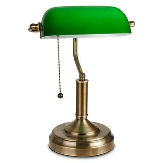 Traditional Antique Style Banker's Lamp, Emerald Green Glass, Satin Brass Finish