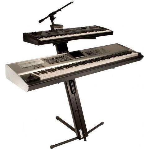 Pro Column Dual Keyboard Stand W/Ulti-Boom Telescoping Mic Boom [Equipment Not Included]