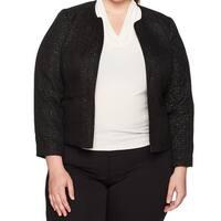 Nine West Black Womens Size 14W Plus Open-Front Sequin Tweed Jacket