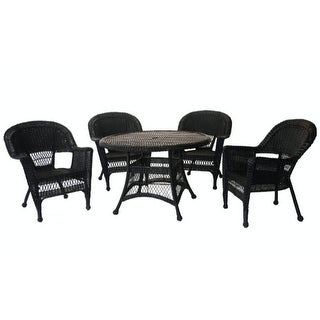 5-Piece Black Resin Wicker Chair and Table Patio Dining Furniture Set