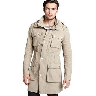 Michael Kors MK Coated Linen Anorak Jacket Small S Khaki Hooded Coat