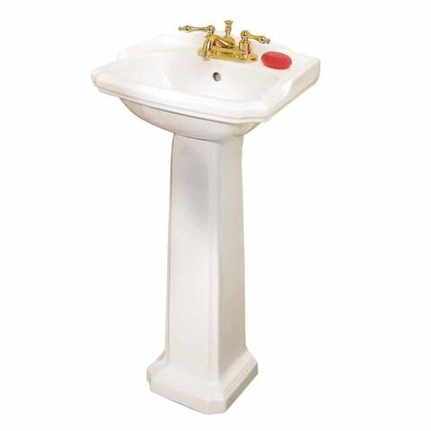 Renovator's Supply Small White Vitreous China Pedestal Bathroom Sink