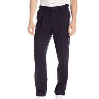 Dockers Mens Pants Blue Size 38x29 Pleated Relaxed Fit Khakis Stretch