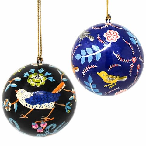 Recycled Paper Handpainted Animal Theme Ornaments, Set of 2 (India)