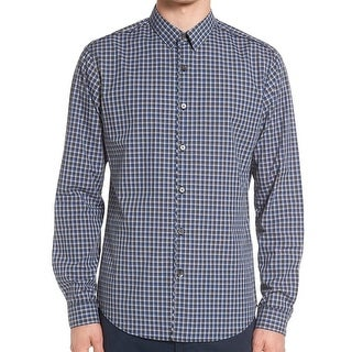 Theory NEW Blue Mens Size Large L Check Print Button Down Shirt