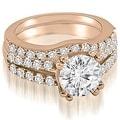 1.30 cttw. 14K Rose Gold Cathedral Split Shank Round Cut Diamond Bridal Set - Thumbnail 0