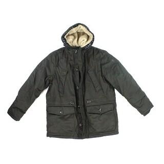 English Laundry NEW Black Mens Size XL Plaid Faux Fur Hooded Jacket