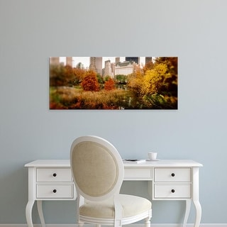 Easy Art Prints Panoramic Image 'Park with buildings, Central Park, Manhattan, New York City, New York' Canvas Art