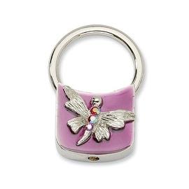Silvertone Dragonfly w/ Crystals Purple Enamel Key Fob