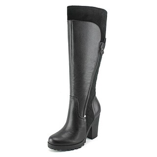 Guess Cayena Women Round Toe Leather Black Knee High Boot