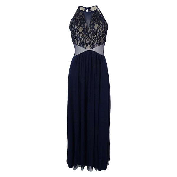 1075ec47872 Shop Teeze Me Juniors  Sleeveless Lace Sequined Gown - Navy - 3 - Free  Shipping On Orders Over  45 - Overstock.com - 14817595