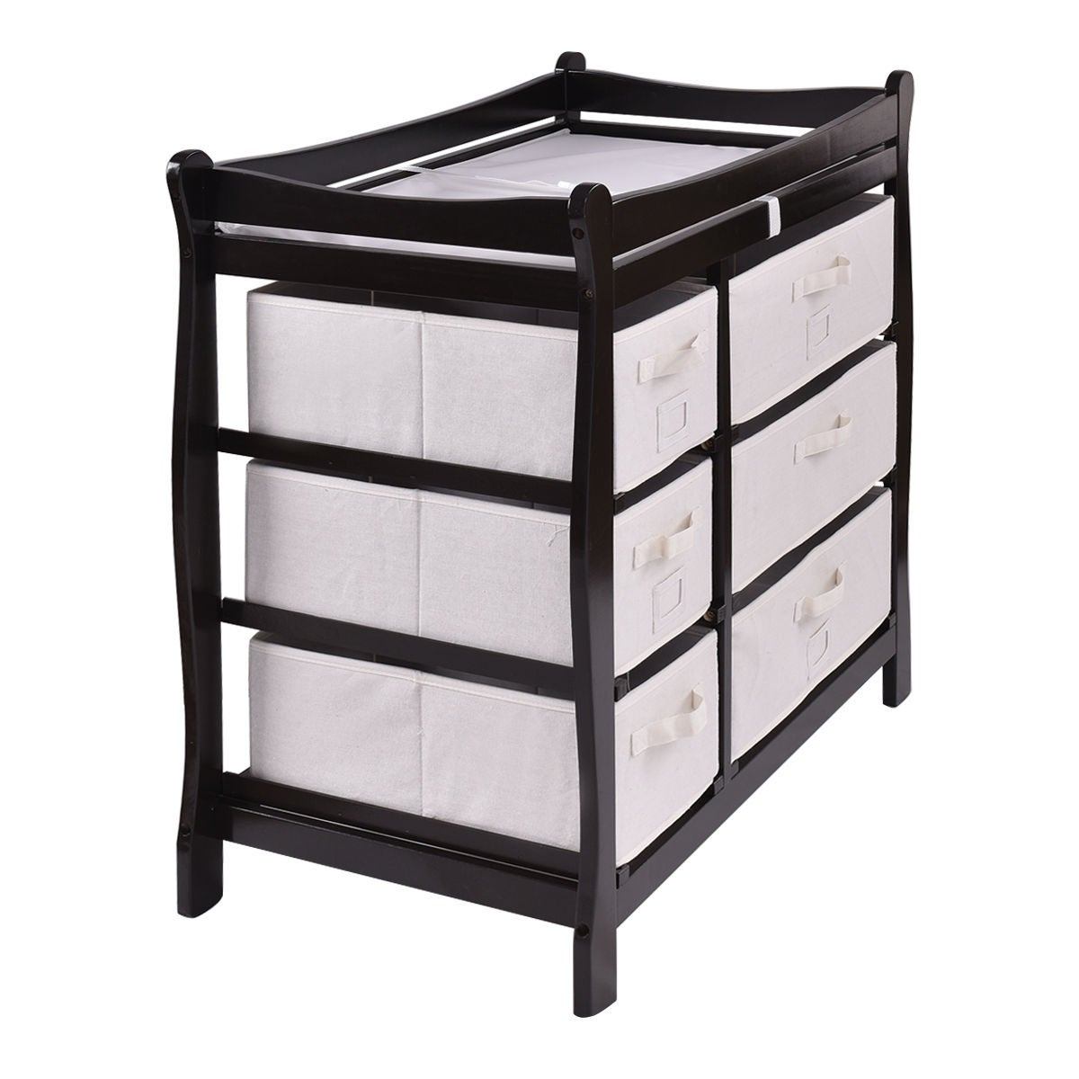 6fb8c663b9f7 Shop Costway Espresso Sleigh Style Baby Changing Table Diaper 6 Basket  Drawer Storage Nursery - Free Shipping Today - Overstock - 20476028