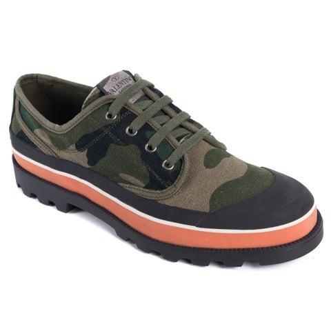 Valentino Mens Green Camouflage Canvas ID Low Top Sneakers
