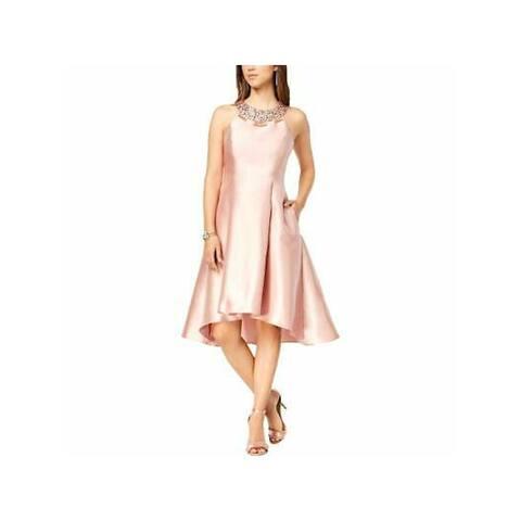 ADRIANNA PAPELL Womens Pink Halter Midi Hi-Lo Prom Dress Size 2