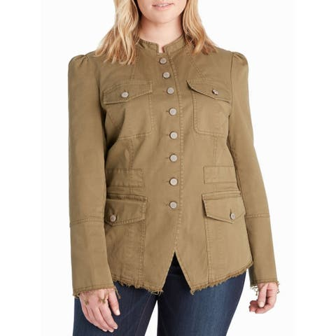 William Rast Womens Jacket Green Size 2X Plus Four Pocket Button Down