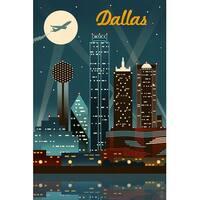 Dallas, TX - Retro Skyline - LP Artwork (100% Cotton Towel Absorbent)