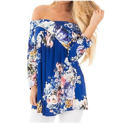 Sexy Cross V Collar Strapless Print T-Shirt Blouse