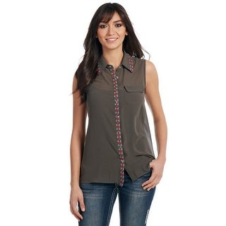 Cowgirl Up Western Shirt Womens Chiffon Embroidered Collar CG60808
