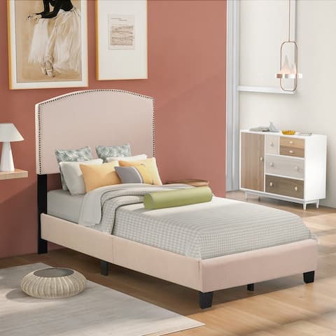 Milan Upholstered Platform Bed with Wooden Slats and Nailhead Detail