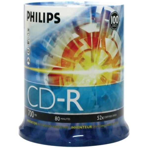 Philips Cdr80D52N/650 700Mb 80-Minute 52X Cd-Rs (100-Ct Cake Box Spindle)