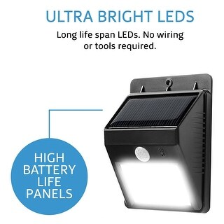 Techno Earth Wireless Solar Powered Motion Sensor LED Light - 4 LED