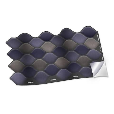 Walplus Purple Shade Leaf Wall Peel and Stick Backsplash Tile Stickers