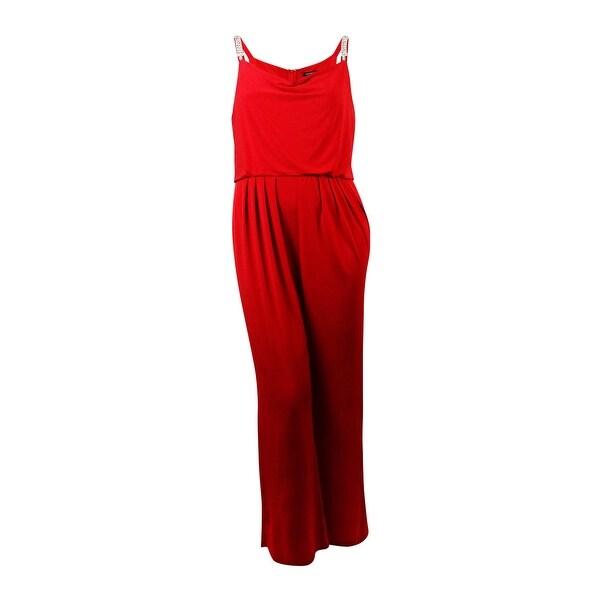 Ellen Tracy Women's Embellished Straps Cowl Jersey Jumpsuit